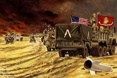 From the Combat Art Collection [1st Division CP, Moving Forward, by Col. H. Avery Chenoweth USMCR, Desert Storm